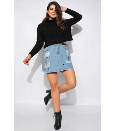 Pulover negru crop-top tricotat  - 1