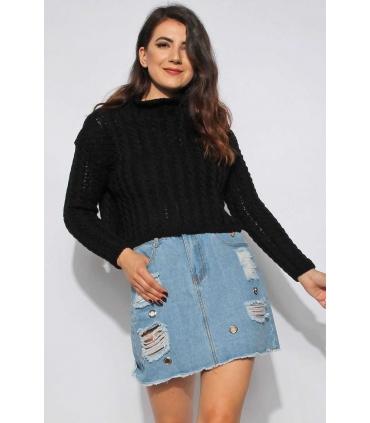 Pulover negru crop-top tricotat  - 2