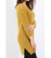 Pulover tricotat de culoare mustar cu impletituri pe umeri  - 2