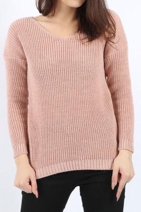 Pulover Roz Pudrat tricotat, decupat pe spate  - 1