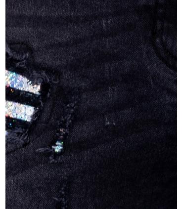 Blugi gri inchis cu talie inalta, rupturi si aplicatii stralucitoare Parisian - 6