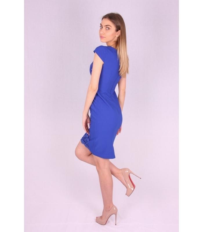 Rochie albastra cu model brodat  - 1