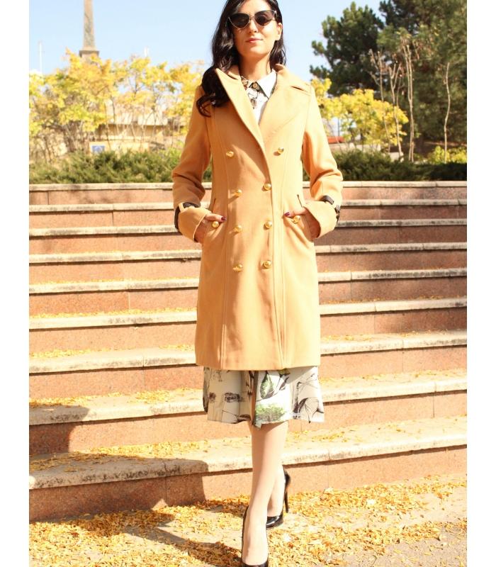 Palton elegant cu doua randuri de nasturi aurii  - 1