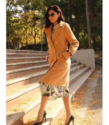 Palton elegant cu doua randuri de nasturi aurii  - 2