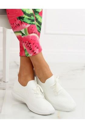 Adidasi din material textil elastic alb cu talpa groasa  - 1