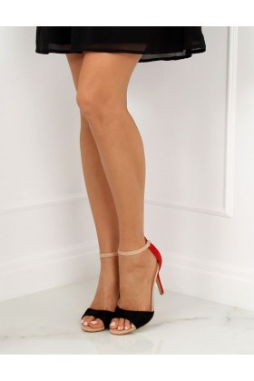 Sandale cu toc subtire, imitatie din piele intoarsa, rosu si negru  - 1