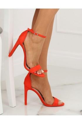 Sandale cu toc gros, imitatie piele intoarsa, corai  - 1