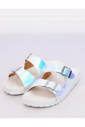 Papuci albi cu detalii multicolore  - 1