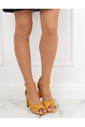 Sandale cu toc gros, piele ecologica, galben mustar  - 1