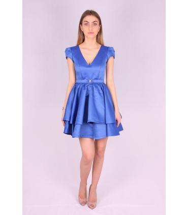 Rochie albastra din material satinat  - 2