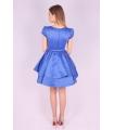 Rochie albastra din material satinat  - 3