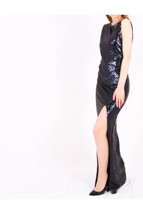 Rochie cu paiete albastre lunga  - 1