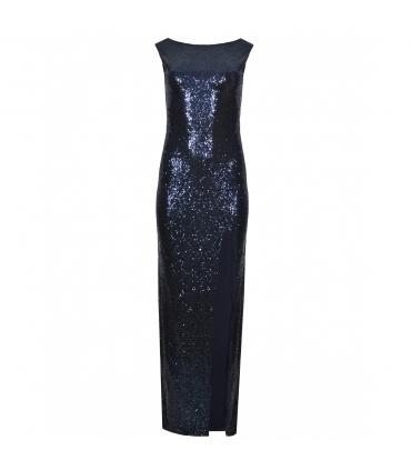 Rochie cu paiete albastre lunga  - 6