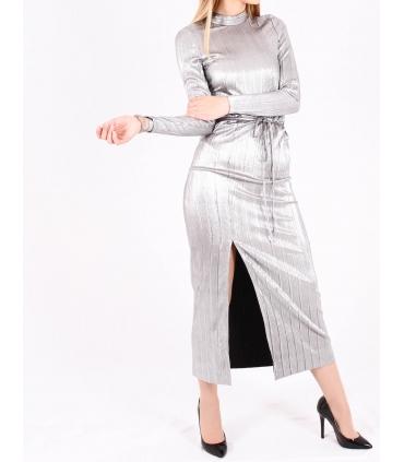 Rochie lunga metalica  - 5
