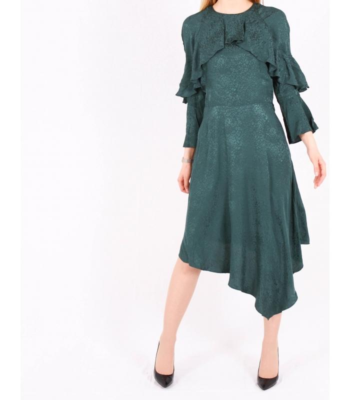 Rochie asimetrica de culoare verde  - 1