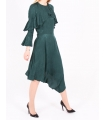 Rochie asimetrica de culoare verde  - 2