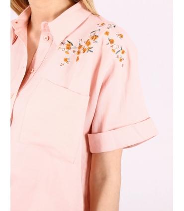 Camasa roz cu imprimeu floral  - 2