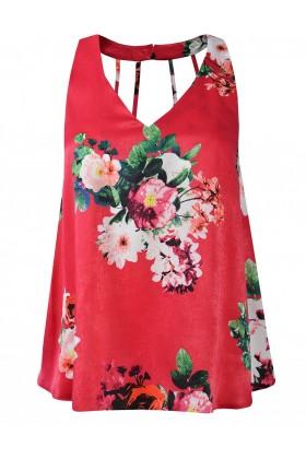 Top roz cu imprimeu cu flori  - 1