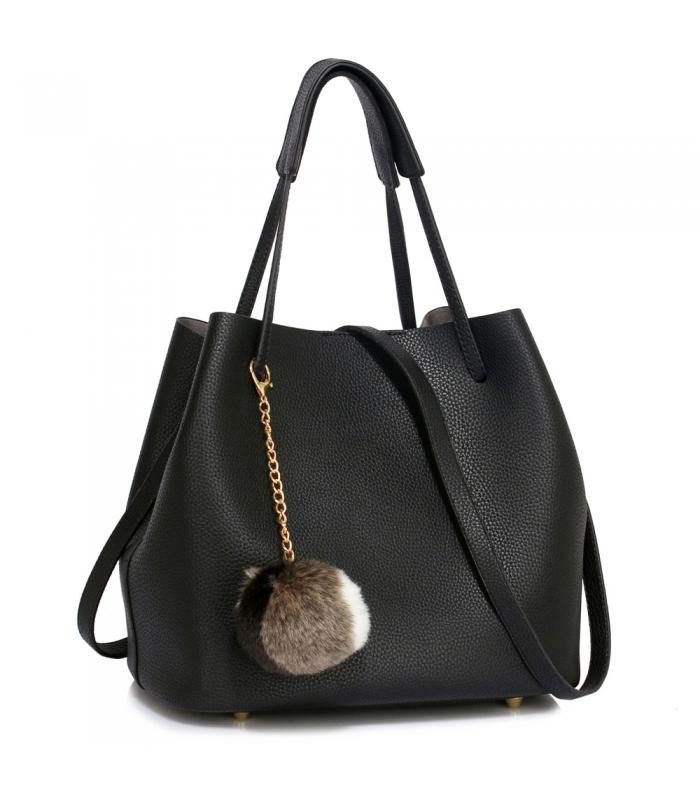Geanta tip sac din piele ecologica neagra cu accesoriu din blanita  - 1