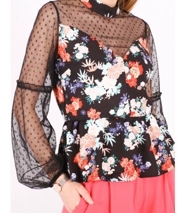 Top negru cu print floral  - 2