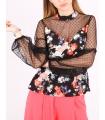 Top negru cu print floral  - 3