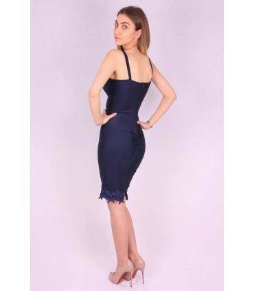 Rochie albastra lejera cu bust buretat  - 4