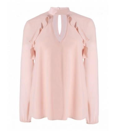 Bluza roz cu decolteu in V