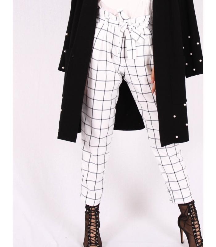 Pantaloni albi cu patrate de culoare neagra Raspberry - 1