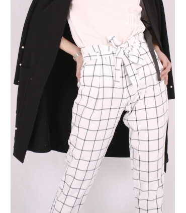 Pantaloni albi cu patrate de culoare neagra Raspberry - 2