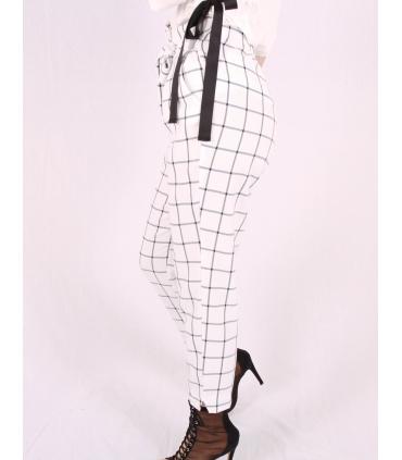 Pantaloni albi cu patrate de culoare neagra Raspberry - 3