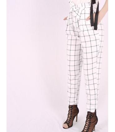Pantaloni albi cu patrate de culoare neagra Raspberry - 4