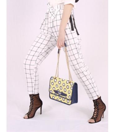 Pantaloni albi cu patrate de culoare neagra Raspberry - 5