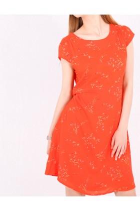 Rochie de vara portocalie cu imprimeu floral  - 1