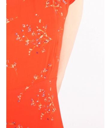 Rochie de vara portocalie cu imprimeu floral  - 3