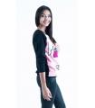 Bluza neagra cu imprimeu roz in fata  - 1