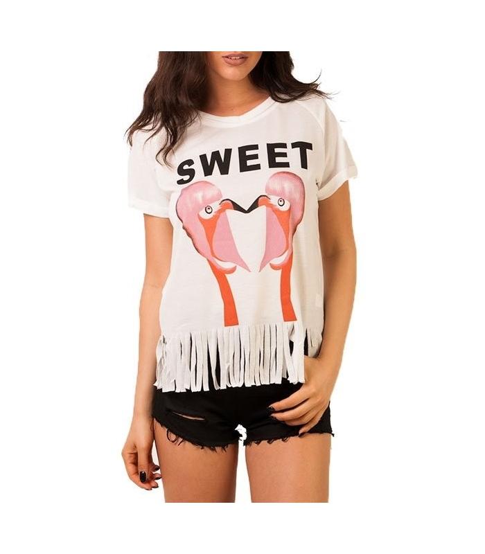 Tricou alb cu franjuri si imprimeu cu flamingo  - 1