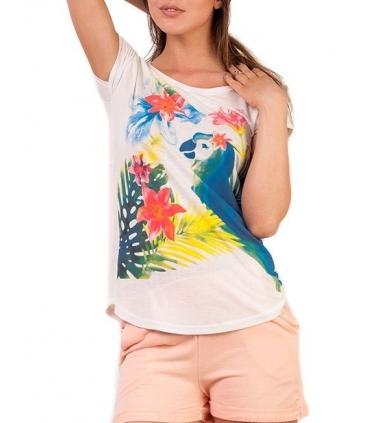 Tricou alb imprimat cu un papagal multicolor  - 2