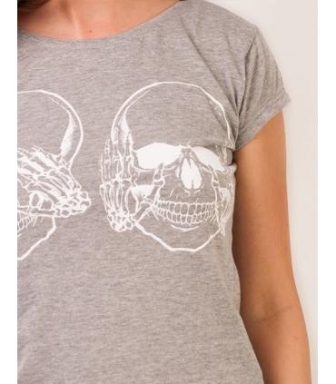 Tricou gri imprimat cu 2 cranii albe  - 3