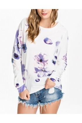 Bluza alba cu maneca lunga si flori mov  - 1