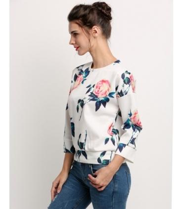 Bluza alba cu trandafiri  - 3