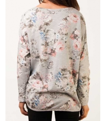 Bluza gri cu imprimeu floral  - 1