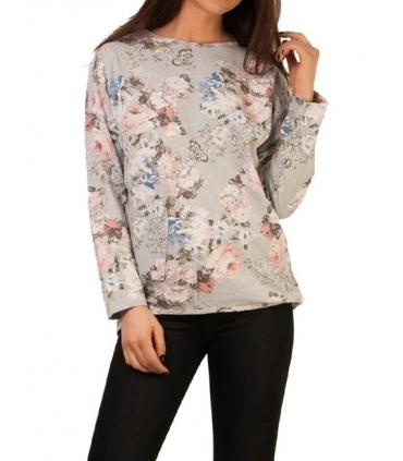 Bluza gri cu imprimeu floral  - 2