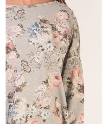 Bluza gri cu imprimeu floral  - 3